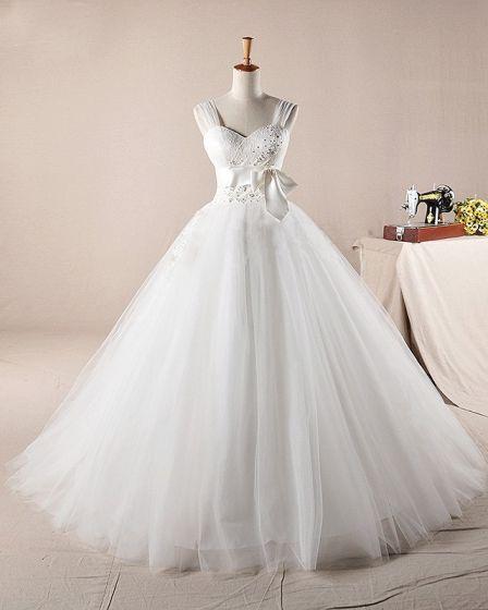 Wdzieczne Falbany Applique Linke Ramiaczka Tiul Linie Suknie Ślubne Suknia Ślubna Princessa