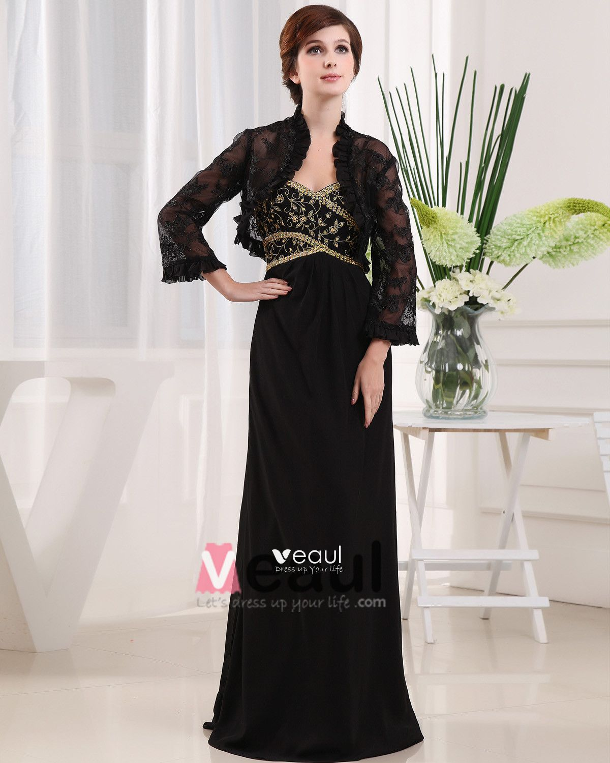 Sweetheart Long Sleeve Zipper Embroidery Beading Floor Length Chiffon Lace Mother of the Bride Dress