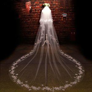 Luxe 2017 Witte Appliques Tule Kanten Avond Bruidssluier