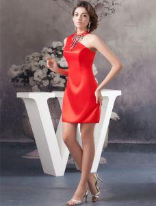 Charme Une Épaule Pompon Perles Robe De Cérémonie Courte Robe De Cocktail Rouge