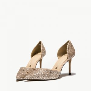 Brillante Oro Zapatos de novia 2019 Lentejuelas 8 cm Stilettos / Tacones De Aguja Punta Estrecha Boda High Heels