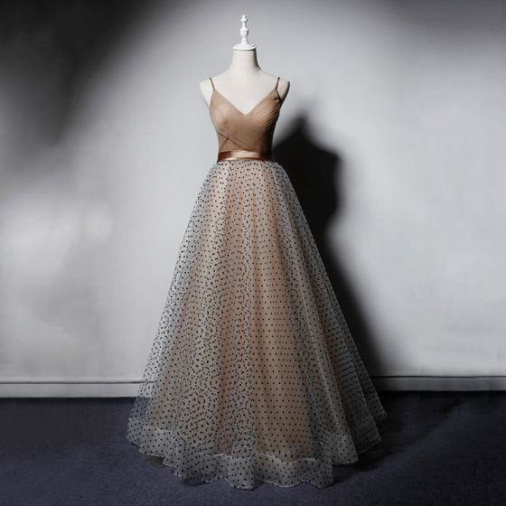 Chic / Beautiful Champagne Prom Dresses 2019 A-Line / Princess Spaghetti Straps V-Neck Sleeveless Spotted Tulle Sash Floor-Length / Long Ruffle Backless Formal Dresses