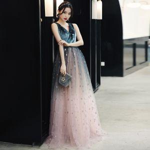 Élégant Bleu D'encre Rougissant Rose Robe De Soirée 2020 Princesse Col v profond Sans Manches Glitter Étoile Longue Volants Dos Nu Robe De Ceremonie