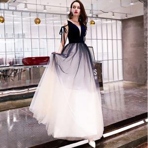 Chic / Beautiful Navy Blue Prom Dresses 2019 A-Line / Princess Spaghetti Straps Sleeveless Backless Floor-Length / Long Formal Dresses
