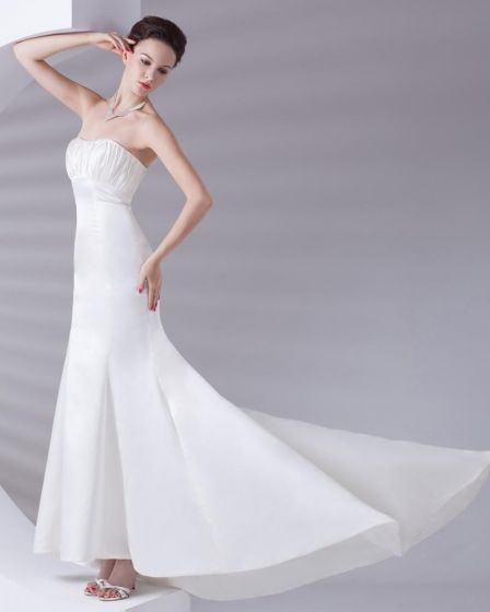 Strapless Pleated Floor Length Charmeuse Woman Sheath Wedding Dress