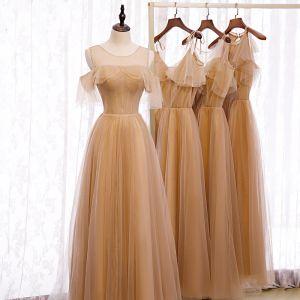 Elegant Brown Bridesmaid Dresses 2020 A-Line / Princess Short Sleeve Backless Rhinestone Floor-Length / Long Ruffle