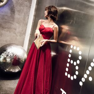 Modern / Fashion Burgundy Evening Dresses  2019 Sheath / Fit Shoulders Sleeveless Spotted Tulle Floor-Length / Long Ruffle Backless Formal Dresses