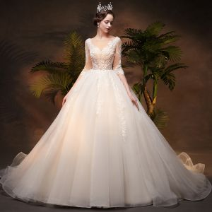 Illusion Ivory See-through Wedding Dresses 2019 Princess Square Neckline 3/4 Sleeve Backless Appliques Pierced Lace Chapel Train Ruffle