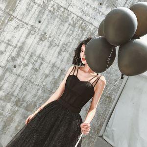 Eenvoudige Modern Zwarte Avondjurken 2019 A lijn Ronde Hals Mouwloos Lange Gelegenheid Jurken
