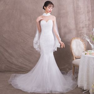 Elegant Ivory See-through Evening Dresses  With Shawl 2018 Trumpet / Mermaid High Neck Sleeveless Appliques Lace Chapel Train Formal Dresses