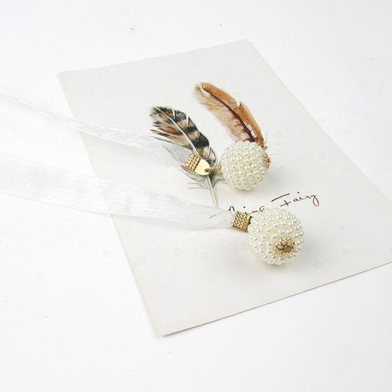 Fine Hvit Bryllup Bånd 2020 Metall Beading Perle Tyll Aften Ball Tilbehør