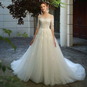 Elegant Ivory Wedding Dresses 2019 A-Line / Princess Scoop Neck Lace Flower 1/2 Sleeves Backless Chapel Train
