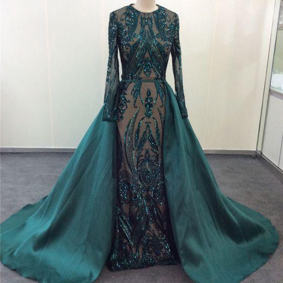 Vintage / Retro Dark Green Evening Dresses  2020 Trumpet / Mermaid Scoop Neck Lace Sequins Long Sleeve Court Train Formal Dresses