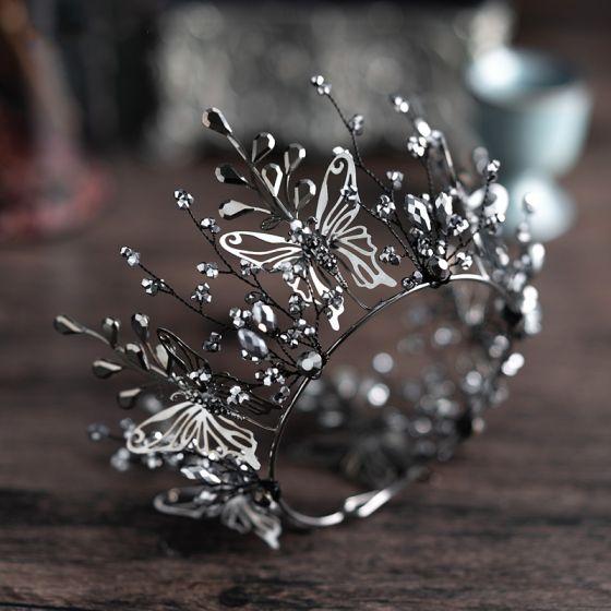 Vintage / Retro Baroque Black Bridal Jewelry 2019 Metal Butterfly Tiara Headpieces Tassel Earrings Beading Accessories