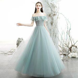 Chic / Belle Bleu Ciel Robe De Soirée 2020 Princesse De l'épaule Manches Courtes Perlage Glitter Tulle Longue Volants Dos Nu Robe De Ceremonie