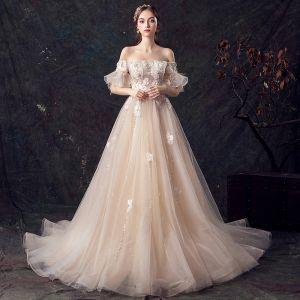 Eleganckie Szampan Suknie Ślubne 2019 Princessa Przy Ramieniu Rękawy z dzwoneczkami Pióro Bez Pleców Aplikacje Z Koronki Frezowanie Perła Cekinami Tiulowe Trenem Sąd Wzburzyć
