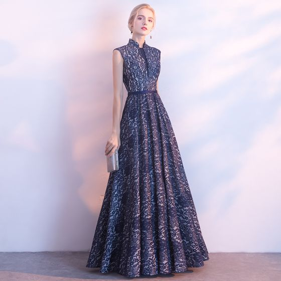 Chinese style Navy Blue Evening Dresses  2017 A-Line / Princess Amazing / Unique High Neck Sleeveless Sash Floor-Length / Long Ruffle Backless Formal Dresses