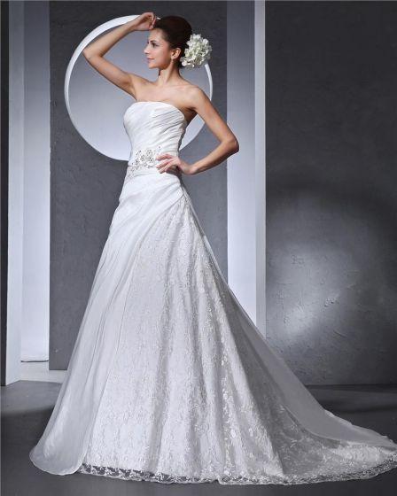 Trägerlose Bördelnde Applique Faltete Satin Taft Spitze Frau A Linie Hochzeitskleid