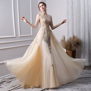 Luxury / Gorgeous Gold Handmade  Beading Evening Dresses  2019 A-Line / Princess Scoop Neck Crystal Lace Flower Pearl Sequins Sleeveless Floor-Length / Long Formal Dresses