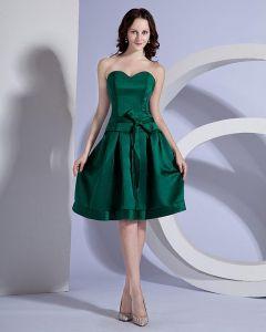 Genou Longueur Robe De Soirée En Soie Elegant Bustier