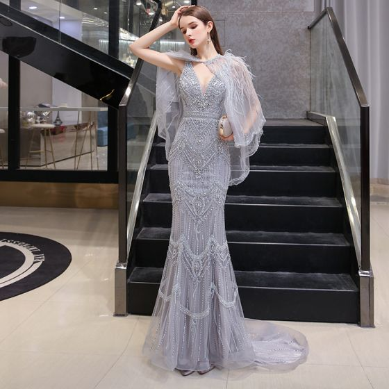 Luxury / Gorgeous Grey Evening Dresses  With Shawl 2020 Trumpet / Mermaid Deep V-Neck Sleeveless Feather Sequins Beading Sweep Train Ruffle Backless Formal Dresses