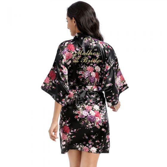 Fantaisie Noire Impression Fleur Mariage Soie Peignoirs 2020 V-Cou 3/4 Manches Ceinture Robe De Mère De Mariée