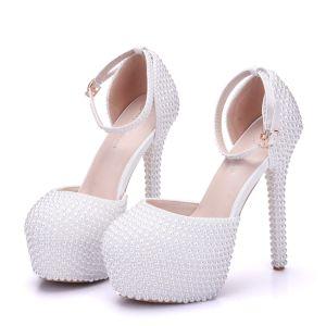 Modern / Fashion White Wedding Shoes 2018 Ankle Strap Pearl 14 cm Stiletto Heels Round Toe Wedding High Heels