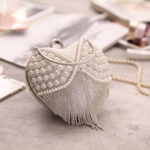 Luxus / Herrlich Silber Perlenstickerei Perle Strass Quaste Herzförmig Metall Clutch Tasche 2018
