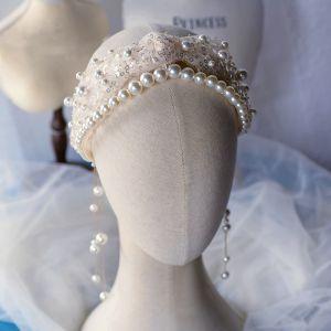 Snygga / Fina Champagne Pannband Brud Huvudbonad 2020 Pärla Paljetter Hårsmycken Bröllop Tillbehör