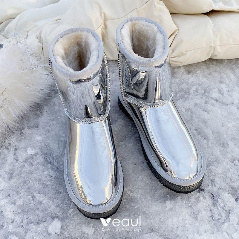 check out cheap sale exclusive deals Amazing / Unique Silver Snow Boots 2020 Woolen Patent Leather ...