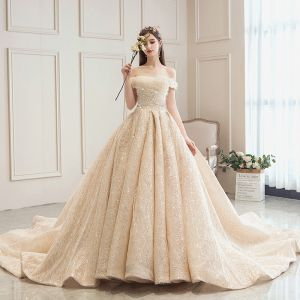 Bling Bling Champagne Wedding Dresses 2019 A-Line / Princess Off-The-Shoulder Short Sleeve Backless Sequins Beading Glitter Tulle Cathedral Train Ruffle