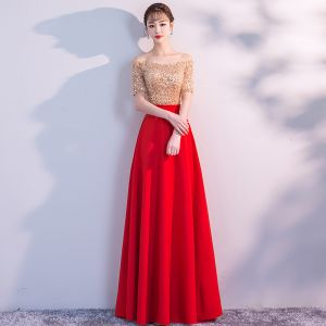Elegant Red Evening Dresses  2019 A-Line / Princess Off-The-Shoulder Sequins Lace Tassel Short Sleeve Backless Floor-Length / Long Formal Dresses