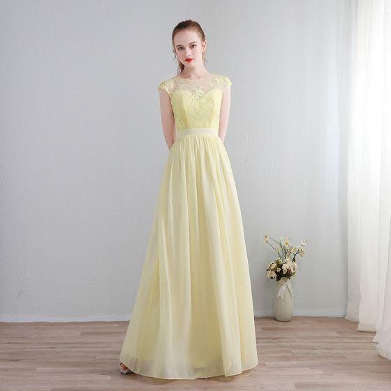 Mode Lange Gelb Abendkleider 2018 A Linie U-Ausschnitt Chiffon Schnüren Applikationen Rückenfreies Durchbohrt Festliche Kleider