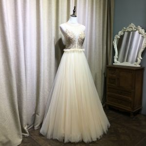 Piękne Szampan Sukienki Wieczorowe 2019 Princessa Wycięciem Frezowanie Kryształ Rhinestone Bez Rękawów Plisowane Długie Sukienki Wizytowe