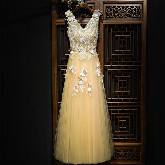 Hermoso Champán Vestidos para bodas 2017 Con Encaje Flor Flores Artificiales Perla Largos Sin Mangas V-Cuello A-Line / Princess Vestidos De Damas De Honor