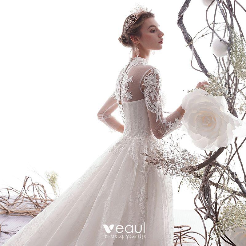 Elegant Ivory Wedding Dresses A-Line / Princess 2019 High Neck Beading Lace Flower 3/4 Sleeve Chapel Train