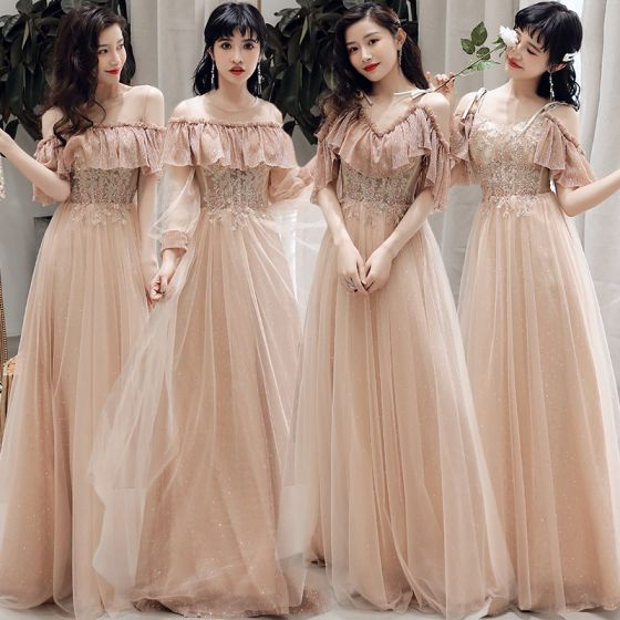Affordable Champagne Bridesmaid Dresses 2019 A-Line / Princess Appliques Lace Beading Glitter Tulle Floor-Length / Long Ruffle Wedding Party Dresses