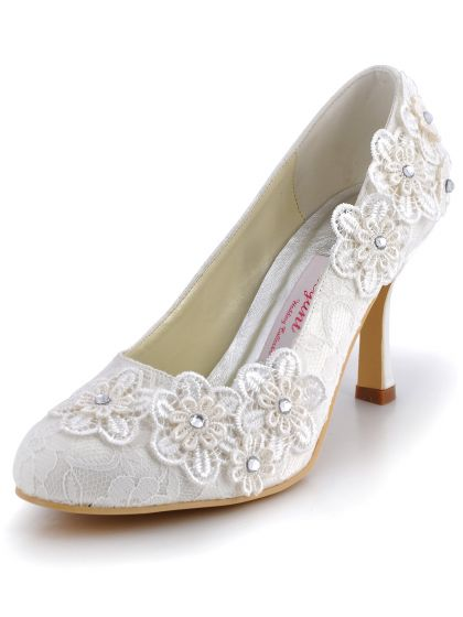 Handmade Custom Sweet High-heeled Party Shoes Lace Diamond Three-dimensional Flowers, Wedding Shoes