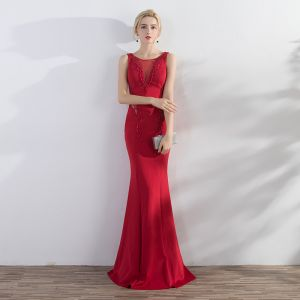 Chic / Beautiful Red Evening Dresses  2017 Trumpet / Mermaid Beading Scoop Neck Backless Sleeveless Floor-Length / Long Formal Dresses