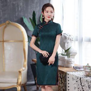 High-end Dark Green Jacquard Cheongsam / Qipao 2020 Sheath / Fit High Neck Short Sleeve Knee-Length Formal Dresses
