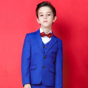 Modest / Simple Royal Blue Boys Wedding Suits 2020 Long Sleeve Coat Pants Shirt Vest Tie