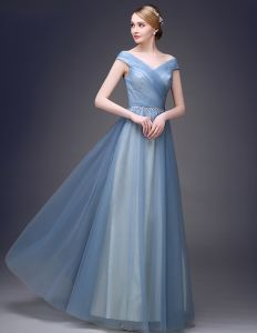 2015 Elegant Shoulders Short Sleeves V-neck Floor-length Long Tulle Evening Dresses
