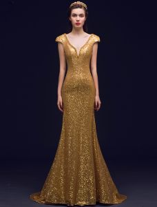 Sparkly Havfrue Dyp V-hals Ryggløse Gull Sequin Lange Selskapskjoler