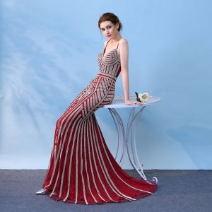 Chic / Beautiful 2017 Evening Dresses  Red V-Neck Trumpet / Mermaid Evening Party Homecoming Formal Dresses