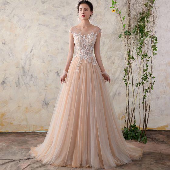Schone Champagner Brautkleider 2018 A Linie Mit Spitze Blumen Perle