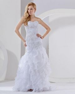 Organza Beading Layered Sweetheart Chapel Train Mermaid Wedding Dress