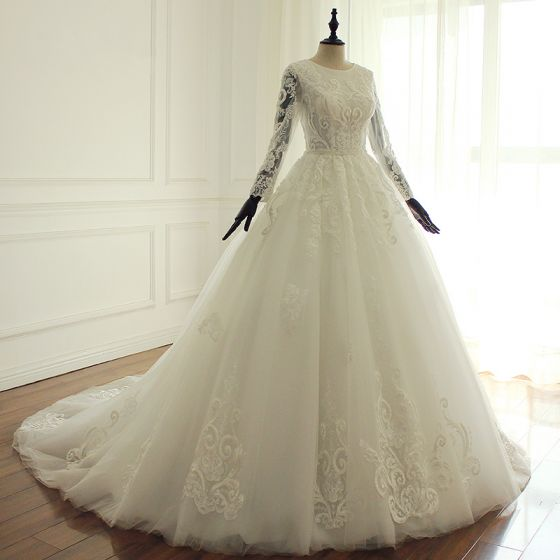 Luxury / Gorgeous Ivory Wedding Dresses 2017 Scoop Neck Long Sleeve Beading Appliques Lace Ruffle Tulle Chapel Train Ball Gown