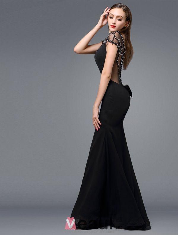 2016 Pelle Superbe Décolleté Dos Nu Perles Strass Robe De Soirée En Soie Noire