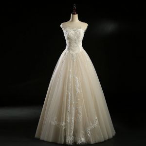 Classic Champagne See-through Wedding Dresses 2018 Ball Gown Scoop Neck Sleeveless Backless Appliques Lace Beading Pearl Sequins Floor-Length / Long Ruffle