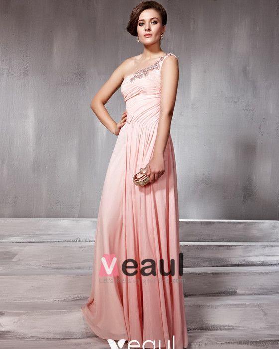Beaded Pleated Tulle Silk Charmeuse One Shoulder Floor Length Evening Dresses